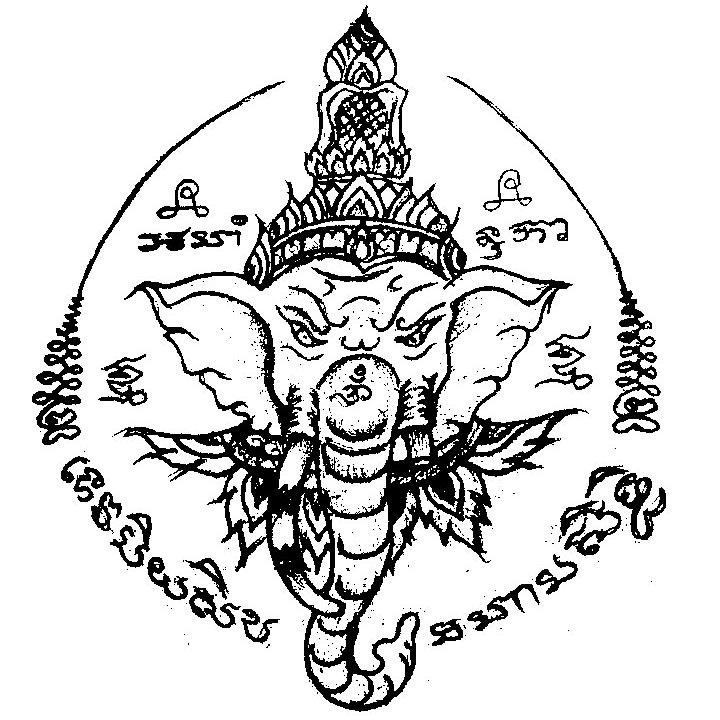 泰国佛牌 象神纹身手稿 法力刺符 欣赏 佛牌知道 象神佛牌专区